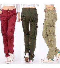 2017 new women's cotton cargo pants leisure trousers more pocket pants pants