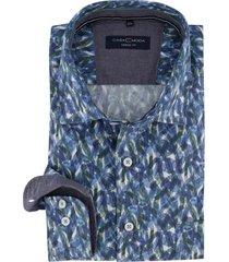 casa moda overhemd blauw dessin casual fit
