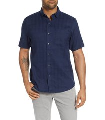 men's tommy bahama costa capri classic fit short sleeve linen blend button-up shirt, size xxx-large - blue