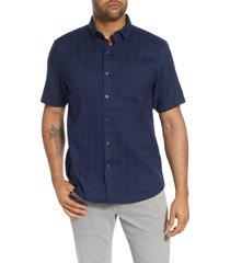 men's tommy bahama costa capri classic fit short sleeve linen blend button-up shirt, size x-large - blue