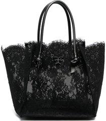 ermanno scervino medium lace shopper tote - black