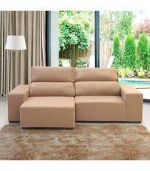 sofá 3 lugares retrátil e reclinável relax champanhe  - viero móveis