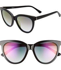 women's brightside beverly 55mm cat eye sunglasses - black/ violet gradient mirror