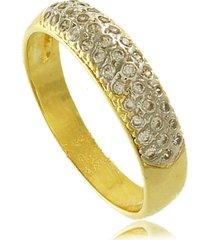 anel aparador com detalhe em ródio e mini zircônias 3rs semijoias dourado