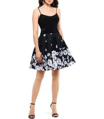 women's xscape mesh inset print pleated party dress, size 14 - black
