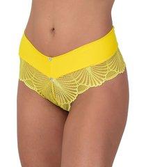calcinha vip lingerie renda guipir amarelo