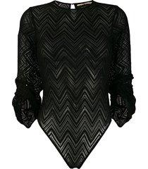 roland mouret sheer bodysuit - black