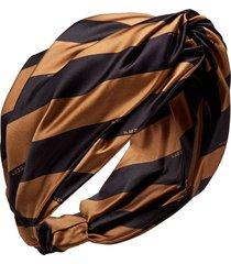 fendi satin striped headband - black