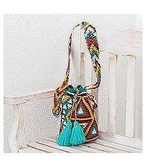 cotton bucket bag, 'tribal geometry' (guatemala)