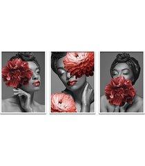 quadro 60x120cm bessie mulher com flores vermelhas  moldura branca sem vidro - tricae