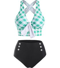 checkered crisscross tied mock button tankini swimwear