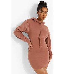 fitted body hoodie dress, chocolate