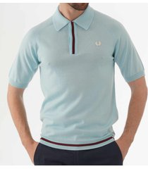 fred perry concealed placket knitted polo shirt - teal green k5302-h69