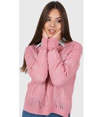 sweater rosa moni tricot calado