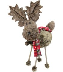 "northlight 15.75"" brown elk with red and black plaid scarf christmas decoration"