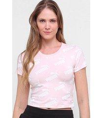 camiseta cropped puma amplified aop feminina - feminino