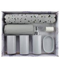 kit de banheiro completo jacki design 6 peças cinza cozy