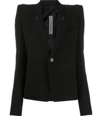 rick owens padded shoulder strap detail blazer - black