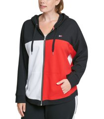 tommy hilfiger plus size colorblocked zip-up hoodie