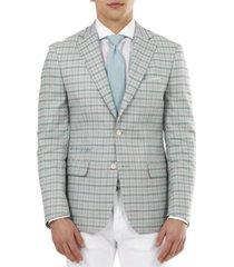 tallia men's slim-fit mint and peach plaid blazer