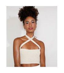 top cropped de tricô feminino mindset com lurex alça cruzada decote reto bege claro