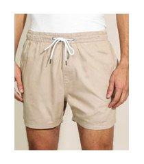 short de sarja masculino com cordão e bolsos kaki