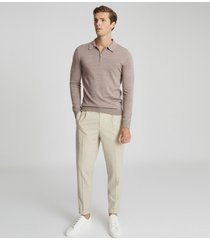 reiss robertson - merino wool zip neck polo shirt in taupe, mens, size xxl