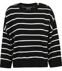boutique moschino button embellished stripe sweatshirt