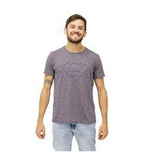 camiseta sideway super man logo - cinza