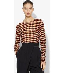 proenza schouler striped tie dye long sleeve t-shirt bleached dark salmon/black l