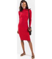amber ribbed sweater midi dress - red