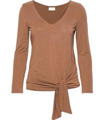 viatetsy 7/8 knot t-shirt/l t-shirts & tops long-sleeved brun vila