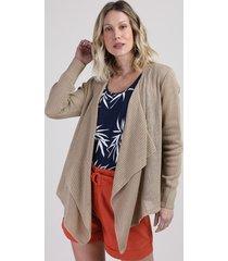 capa de tricô feminina assimétrica kaki