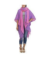cotton kimono jacket and scarf set, 'blush in purple' (thailand)