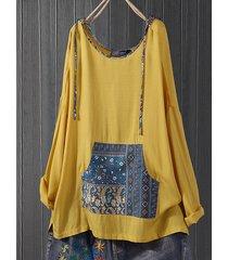 blusa taglie vintage plus tasca con cappuccio stampa patchwork