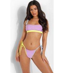 korte bikini top met volle cups en contrasterende naden, lilac