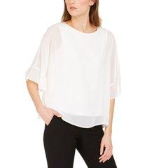 nine west jewel-neck chiffon blouse