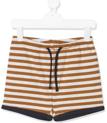 caramel drawstring striped shorts - brown