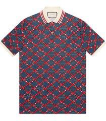 gucci belt check polo shirt - blue