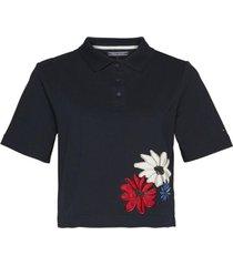 chomba azul tommy hilfiger clema embroidery polo ss