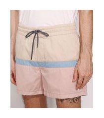short de sarja masculino com recorte e bolsos rosa claro