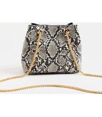 erin snake print bucket handbag - gray