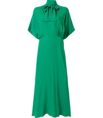 ginger & smart pussy bow cape-effect dress - green