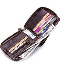 uomo vintage portafoglio in pelle vera tri-fold con rfid antimagnetico con 13 card slots