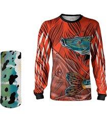 camisa máscara pesca quisty pintado moleque vermelho proteção uv dryfit infantil/adulto - camiseta de pesca quisty