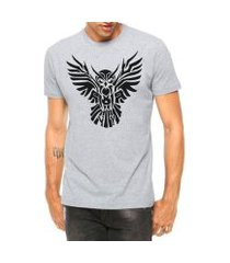 camiseta criativa urbana coruja asas abertas tribal tattoo manga curta