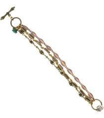 t.r.u. by 1928 waxed linen woven chain bracelet accented with semi-precious malachite