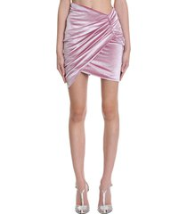 alexandre vauthier skirt in rose-pink velvet