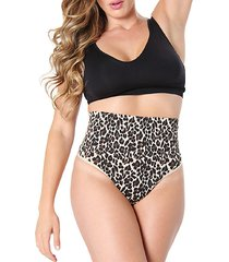 leopard-print high-waisted thong