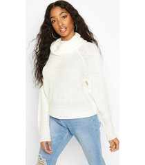 cowl roll neck oversized sweater, ivory